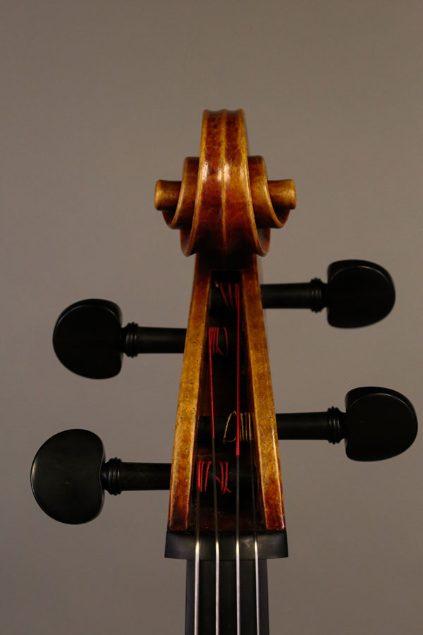 Cello, modelled after a cello by M. Goffriller. Ian McWilliams, 2021. Crawford Instruments