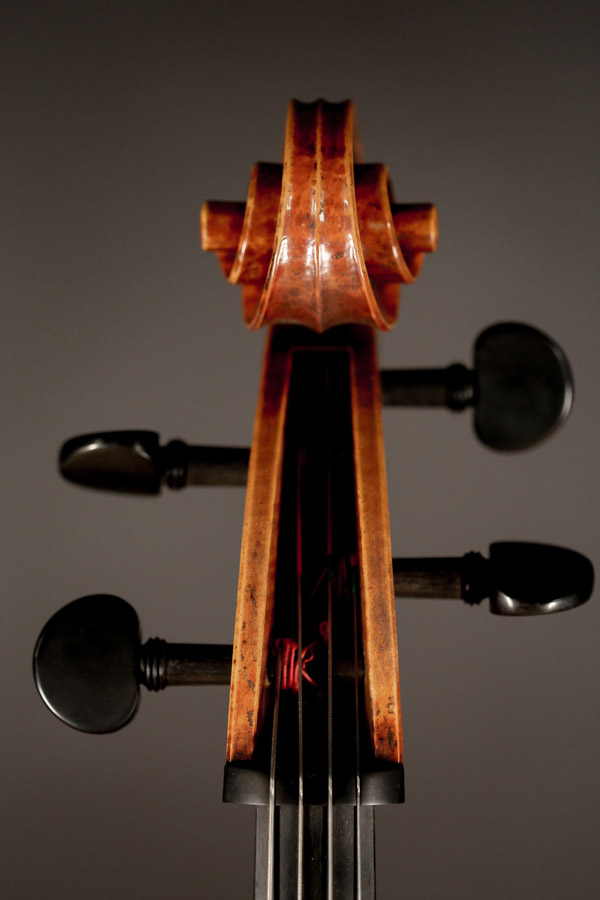 Cello, modelled after a cello by D. Montagnana. Ian McWilliams, 2018. Crawford Instruments